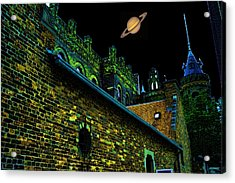 Saturn Over Pabst Brewery Fantasy Image Of Abandoned Home Of Blue Ribbob Beer From 1860  Acrylic Print by Lawrence Christopher