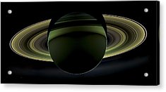 Saturns Glowing Rings Acrylic Print by Adam Romanowicz