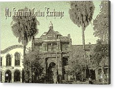 Savannah Cotton Exchange - Old Ink Acrylic Print by Art America Gallery Peter Potter