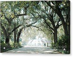 Savannah Georgia Forsyth Fountain Oak Trees With Moss Acrylic Print by Kathy Fornal