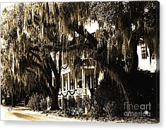Savannah Georgia Haunting Surreal Southern Mansion With Spanish Moss Acrylic Print by Kathy Fornal