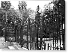 Savannah Mansions Black And White Rod Iron Gate - Savannah Black Gate Architecture Acrylic Print