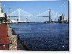 Savannah River Bridge Ga Acrylic Print by Bob Pardue