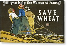Save Wheat Acrylic Print by Edward Penfield