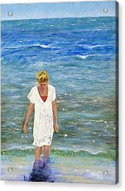 Acrylic Print featuring the painting Savoring The Sea by Margaret Bobb