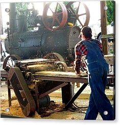 Sawmill Planer In Action Acrylic Print by Pete Trenholm