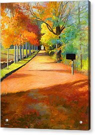 Sawmill Road Autumn Vermont Landscape Acrylic Print by Catherine Twomey