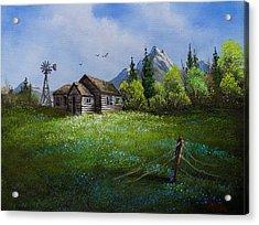 Sawtooth Mountain Homestead Acrylic Print by C Steele