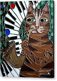 Sax Cat Acrylic Print
