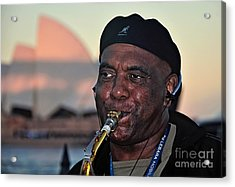 Sax In The City Acrylic Print by Kaye Menner