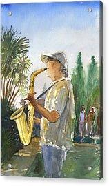 Sax In The Park Acrylic Print