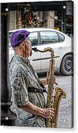 Sax In The Street Acrylic Print