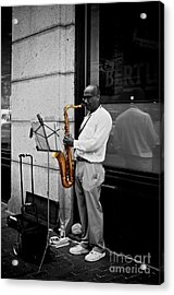 Sax Player  Acrylic Print by Sarah Mullin