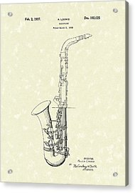 Saxophone 1937 Patent Art Acrylic Print by Prior Art Design