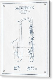 Saxophone Patent Drawing From 1899 - Blue Ink Acrylic Print by Aged Pixel