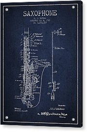 Saxophone Patent Drawing From 1928 Acrylic Print by Aged Pixel