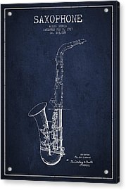 Saxophone Patent Drawing From 1937 - Blue Acrylic Print by Aged Pixel