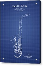 Saxophone Patent From 1937 - Blueprint Acrylic Print by Aged Pixel