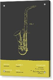 Saxophone Patent From 1937 - Gray Yellow Acrylic Print by Aged Pixel