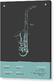 Saxophone Patent From 1937 - Modern Gray Blue Acrylic Print by Aged Pixel