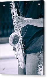 Saxophone Player On Street Acrylic Print by Carolyn Marshall