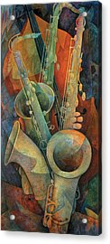Saxophones And Bass Acrylic Print by Susanne Clark