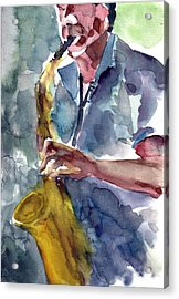 Acrylic Print featuring the painting Saxophonist by Faruk Koksal