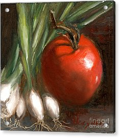 Scallions And Tomato Acrylic Print by Addie Hocynec