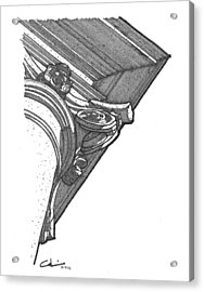 Acrylic Print featuring the drawing Scamozzi Column Capital by Calvin Durham
