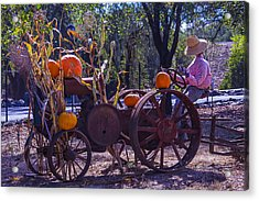 Scarecrow Sitting On Tractor Acrylic Print