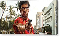 Acrylic Print featuring the painting Scarface Artwork 2 by Sheraz A