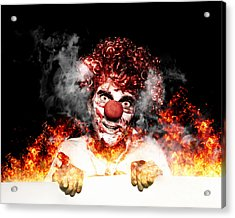 Scary Clown Holding Blank Board In Flames And Fire Acrylic Print
