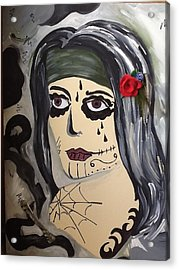 Scary Girl Acrylic Print by Karen Carnow