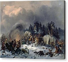 Scene From The Russian-french War In 1812 Oil On Canvas Acrylic Print by Bogdan Willewalde
