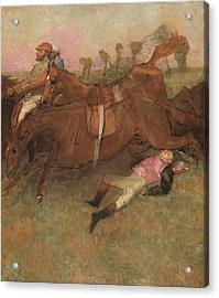 Scene From The Steeplechase The Fallen Jockey Acrylic Print by Edgar Degas
