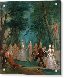 Scene In A Park, With Figures From The Commedia Dellarte Acrylic Print by Litz Collection