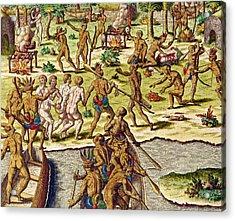 Scene Of Cannibalism Acrylic Print by Theodore de Bry
