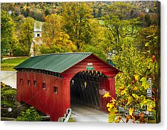Scenic Covered Bridge Of West Arlington Acrylic Print by George Oze