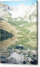 Scenic View Of Mountains And Lake Acrylic Print by Mark Gerum
