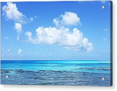 Scenic View Of Turquoise Sea Against Sky Acrylic Print by Fred Bahurlet / Eyeem