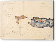 Schiele's Drawing Of His Prison Cell In Neulengbach Acrylic Print by Celestial Images