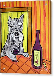 Schnauzer At The Wine Bar Acrylic Print by Jay  Schmetz
