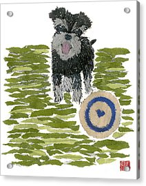 Schnauzer Art Hand-torn Newspaper Collage Art Dog Portrait Acrylic Print by Keiko Suzuki Bless Hue