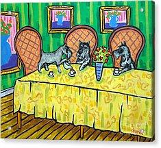 Schnauzers Tea Party Acrylic Print by Jay  Schmetz