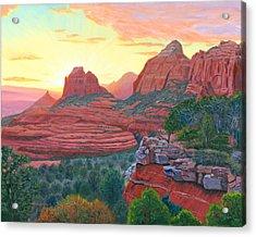 Schnebly Hill Sunset Acrylic Print by Steve Simon