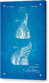 Schnell Pontiac Chief Hood Ornament Patent Art 1926 Blueprint Acrylic Print by Ian Monk
