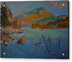 Acrylic Print featuring the painting Schoodic Mountain On Egypt Bay by Francine Frank