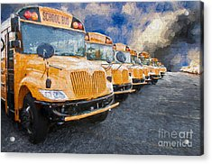 School Bus Lot Painterly Acrylic Print