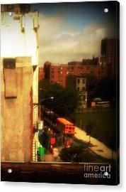 School Bus - New York City Street Scene Acrylic Print by Miriam Danar