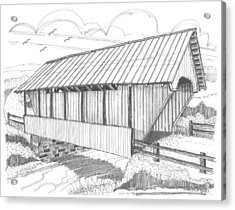 Acrylic Print featuring the drawing School House Covered Bridge by Richard Wambach